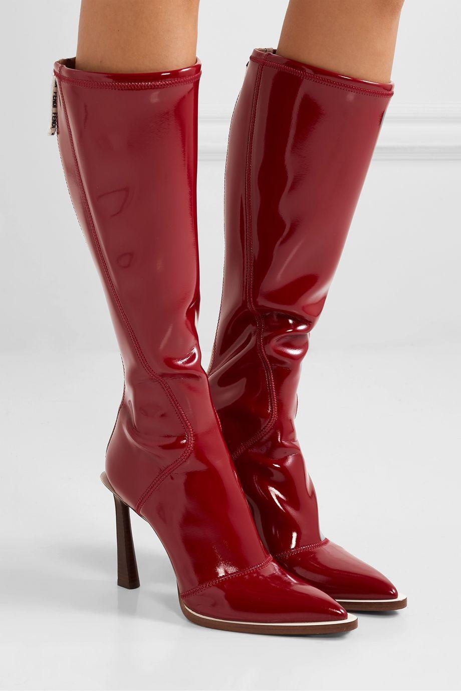 Fendi Glossed-neoprene knee boots