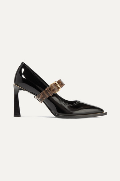 Fendi Pumps Logo-print coated canvas and patent-leather Mary Jane pumps