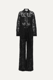 Valentino Belted corded lace jumpsuit