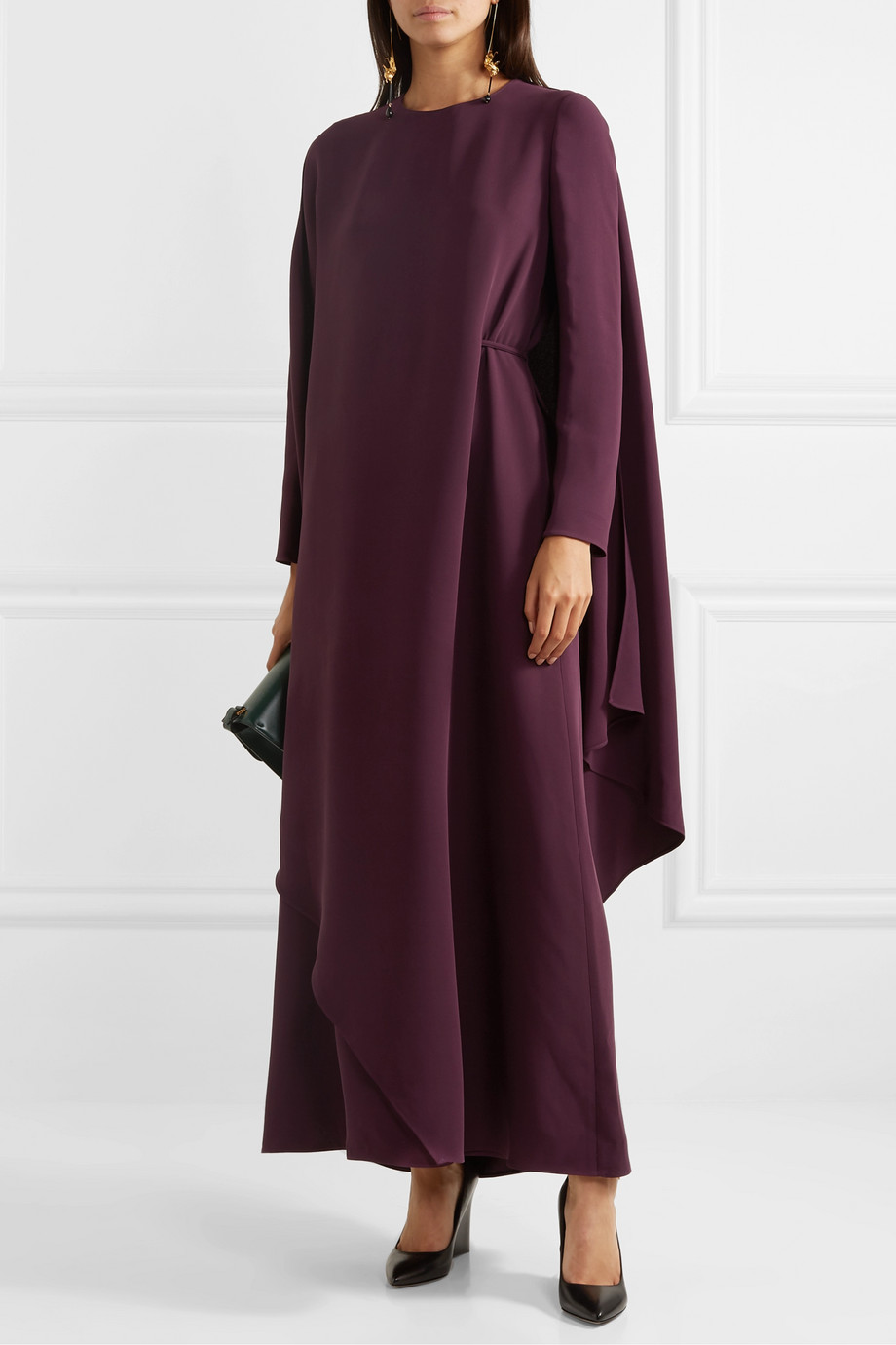 Valentino Cape-effect asymmetric silk-cady gown