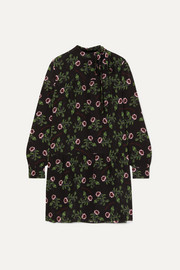 Valentino Pussy-bow tiered floral-print silk crepe de chine mini dress