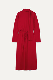 Valentino Tie-detailed drawstring crepe dress