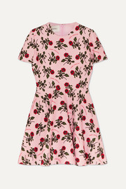 Valentino Floral-print wool and silk-blend cady mini dress