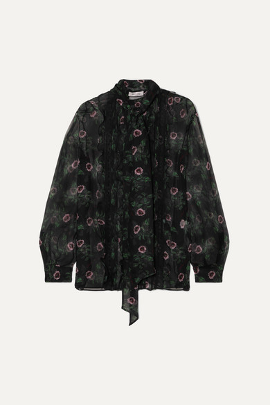 Valentino Tops Pussy-bow lace-trimmed floral-print silk-chiffon blouse