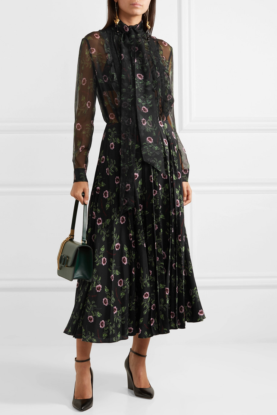 Valentino Pussy-bow lace-trimmed floral-print silk-chiffon blouse