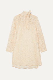 Valentino Pussy-bow corded lace, tulle and crepe de chine mini dress