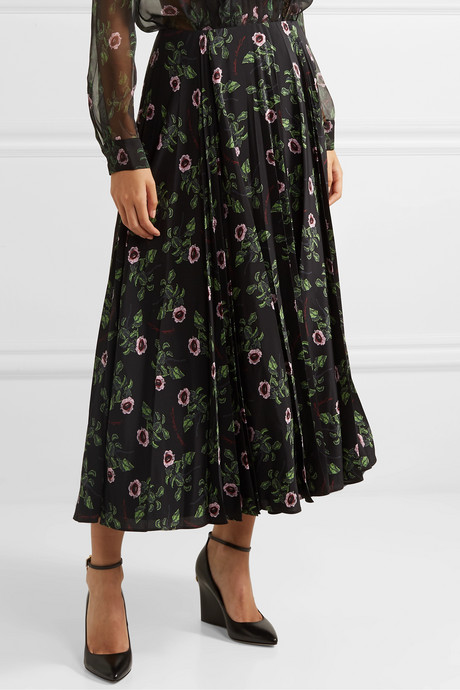 Floral-print pleated silk-chiffon midi skirt