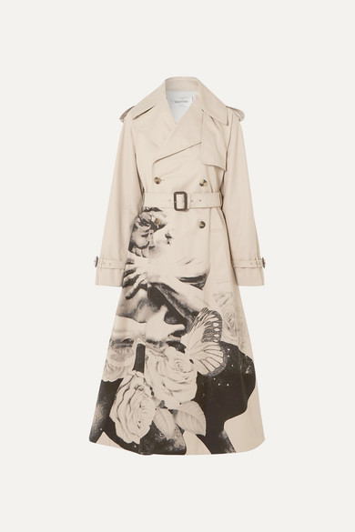 Valentino Coats Printed cotton-gabardine trench coat