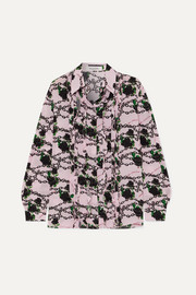 Ruffled printed silk crepe de chine blouse
