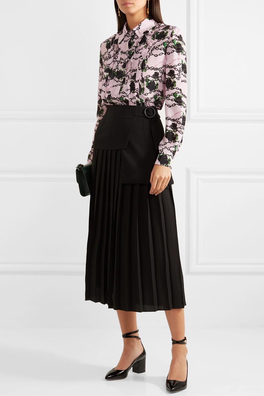 Valentino Ruffled printed silk crepe de chine blouse