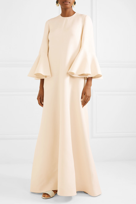 Wool and silk-blend crepe gown
