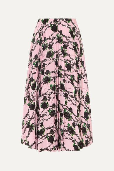 Valentino Skirts + Undercover pleated printed silk crepe de chine midi skirt