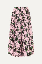 Valentino + Undercover pleated printed silk crepe de chine midi skirt