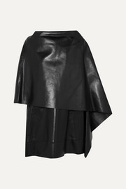 Valentino Cape-effect leather mini dress
