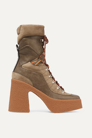 Lace-up faux leather, faux suede and canvas platform boots