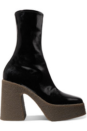 Stella McCartney Faux patent-leather platform sock boots
