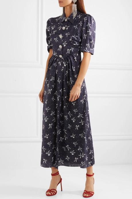 Button-embellished printed silk-jacquard maxi dress