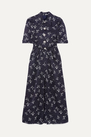 Button-embellished printed silk-jacquard maxi dress