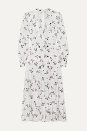 Button-embellished silk-jacquard midi dress
