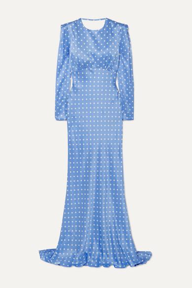 Alessandra Rich Open-Back Polka-Dot Silk-Satin Gown In Light Blue
