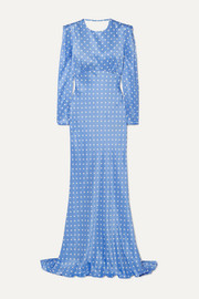 Alessandra Rich Open-back polka-dot silk-satin gown