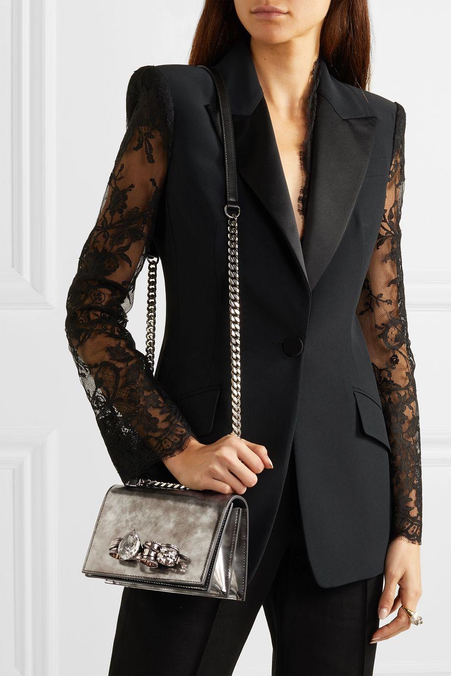 Alexander McQueen Jewelled Satchel embellished leather shoulder bag