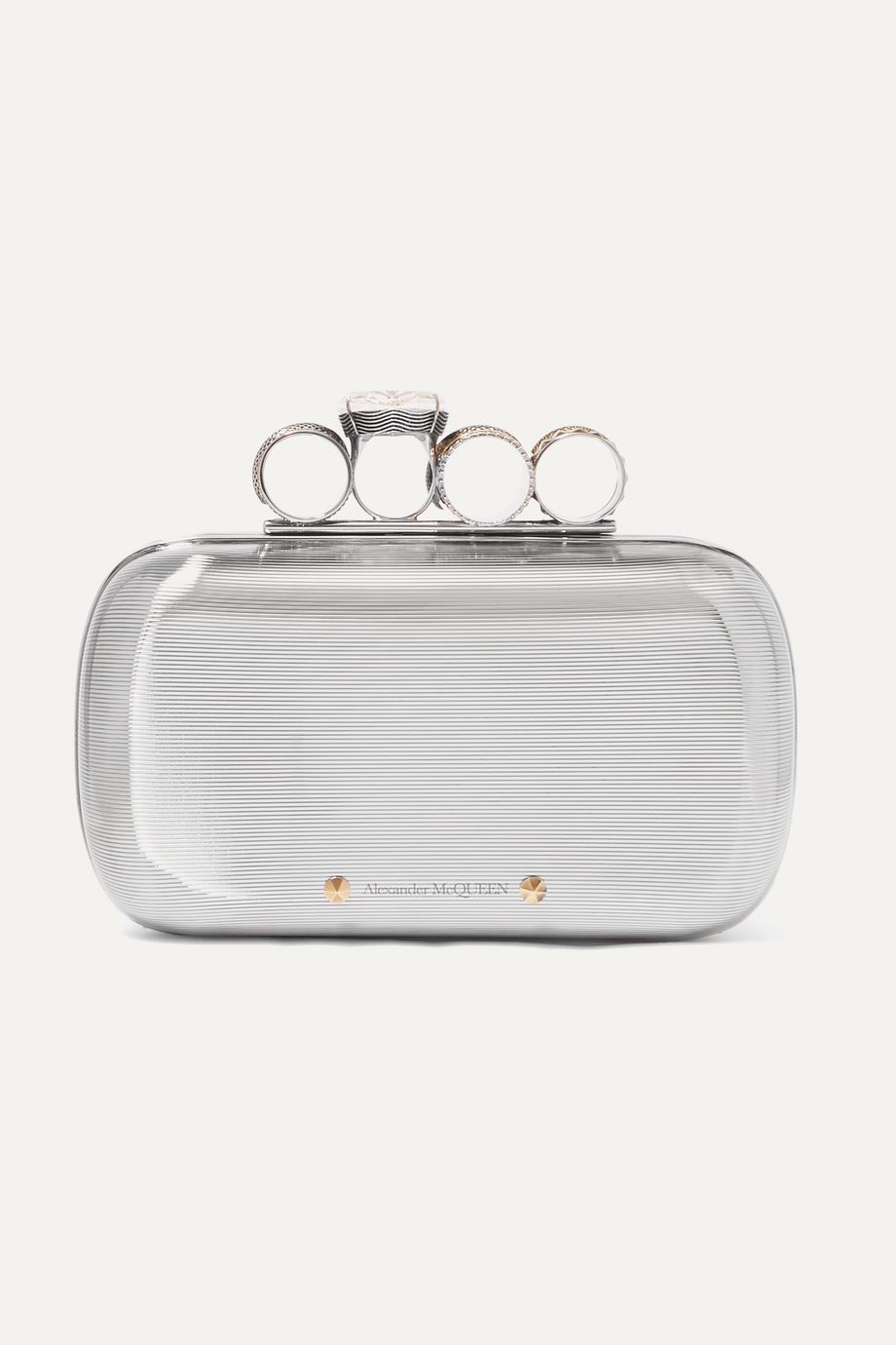Alexander McQueen Four Ring crystal-embellished silver-tone clutch