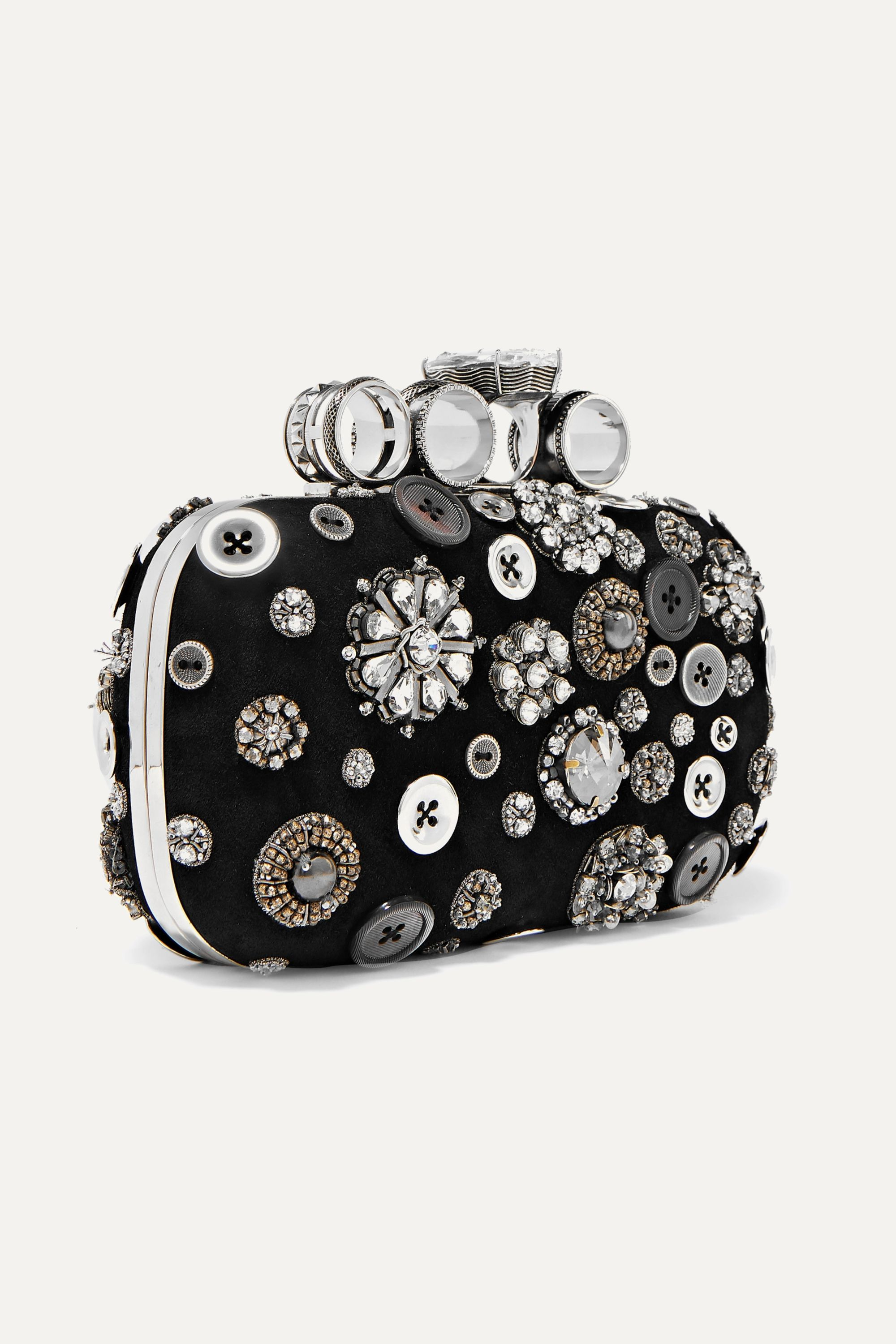Alexander McQueen Four-Ring embellished suede clutch