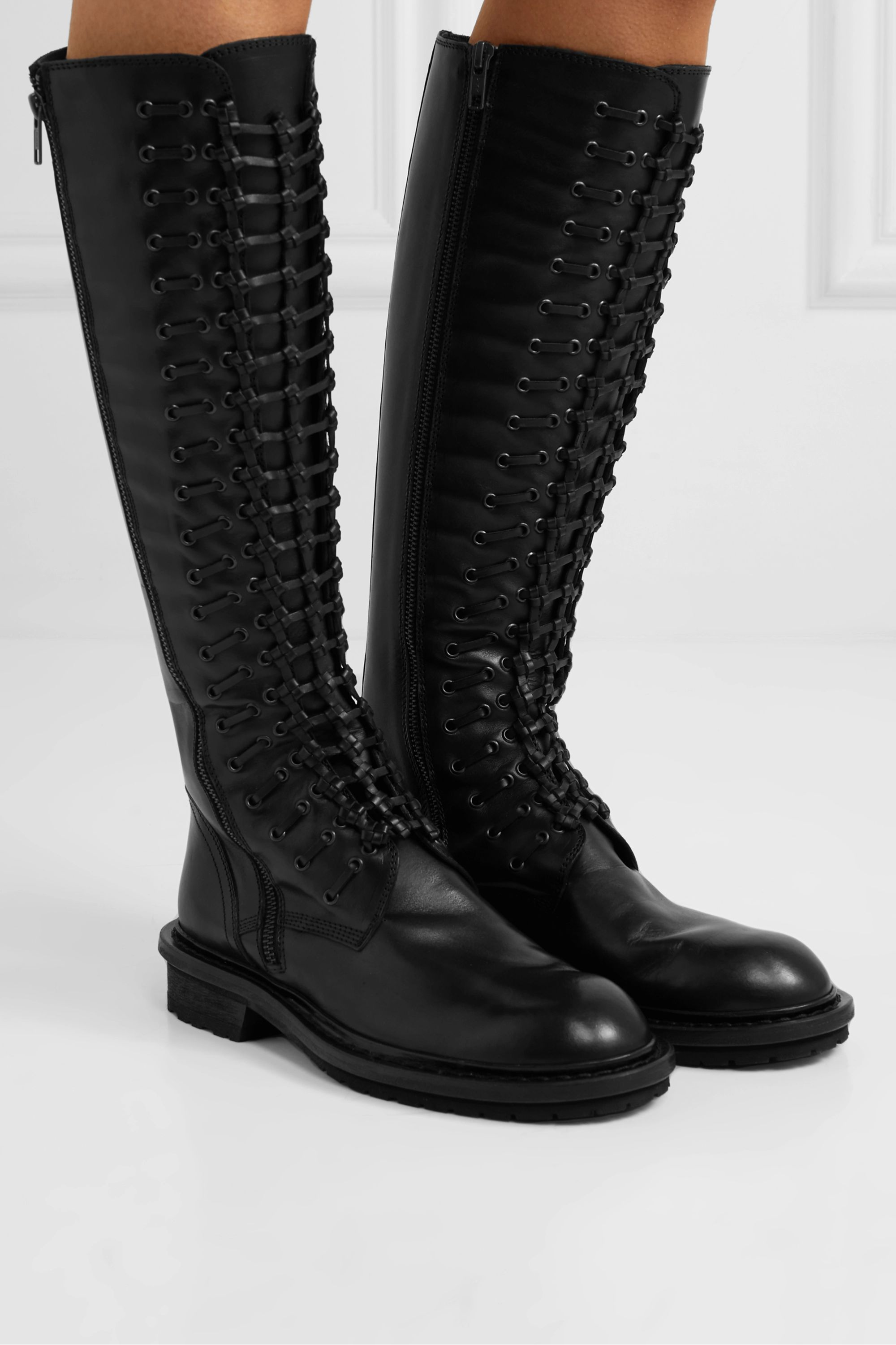 Black Lace-up leather knee boots | Ann