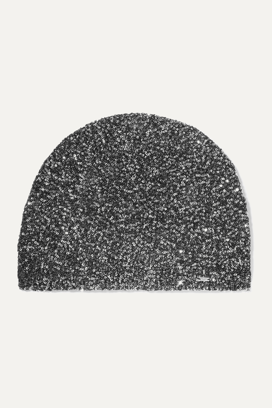 SAINT LAURENT Sequined crochet-knit beanie