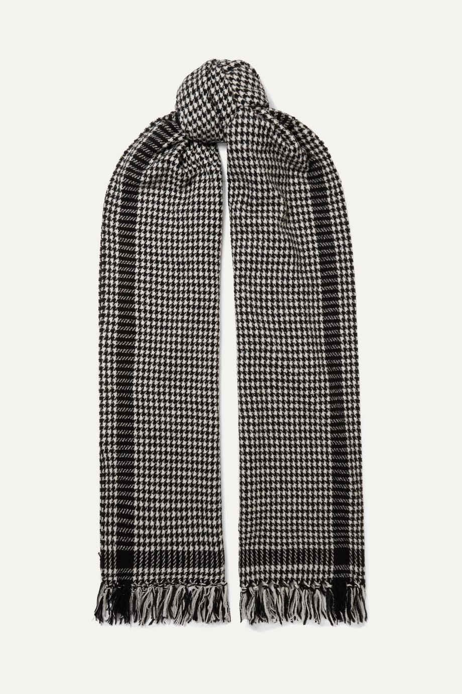 SAINT LAURENT Fringed houndstooth wool-blend scarf