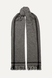 SAINT LAURENT Fringed houndstooth wool-blend scarf