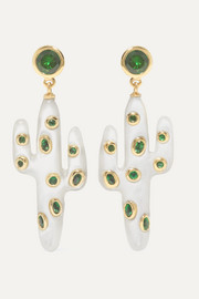 Yvonne Léon 18-karat gold, mother-of-pearl and tsavorite earrings