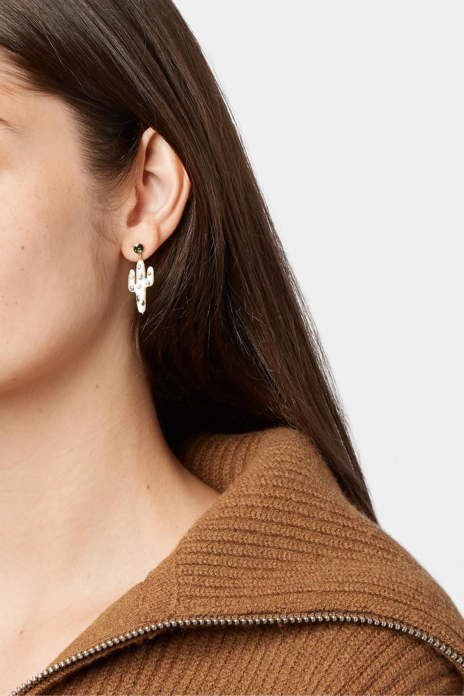 Yvonne Léon Boucles d'oreilles en or 18 carats, nacre et tsavorites