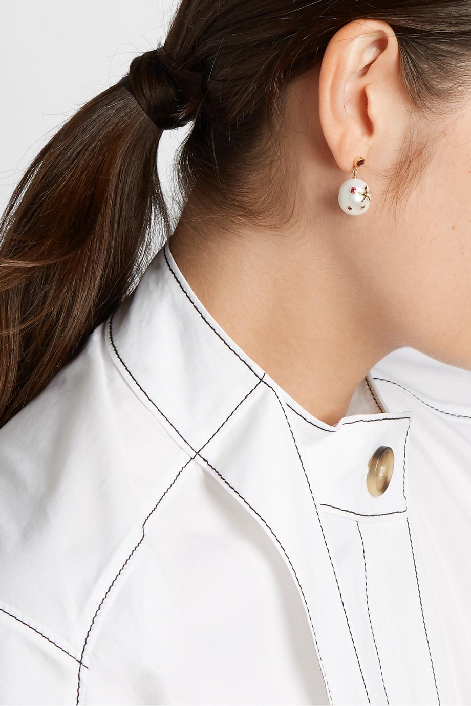 Yvonne Léon 18-karat gold multi-stone earrings