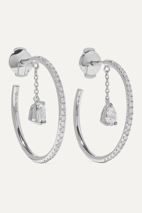 White gold 18-karat white gold diamond hoop earrings | Yvonne Léon ob1NSQ
