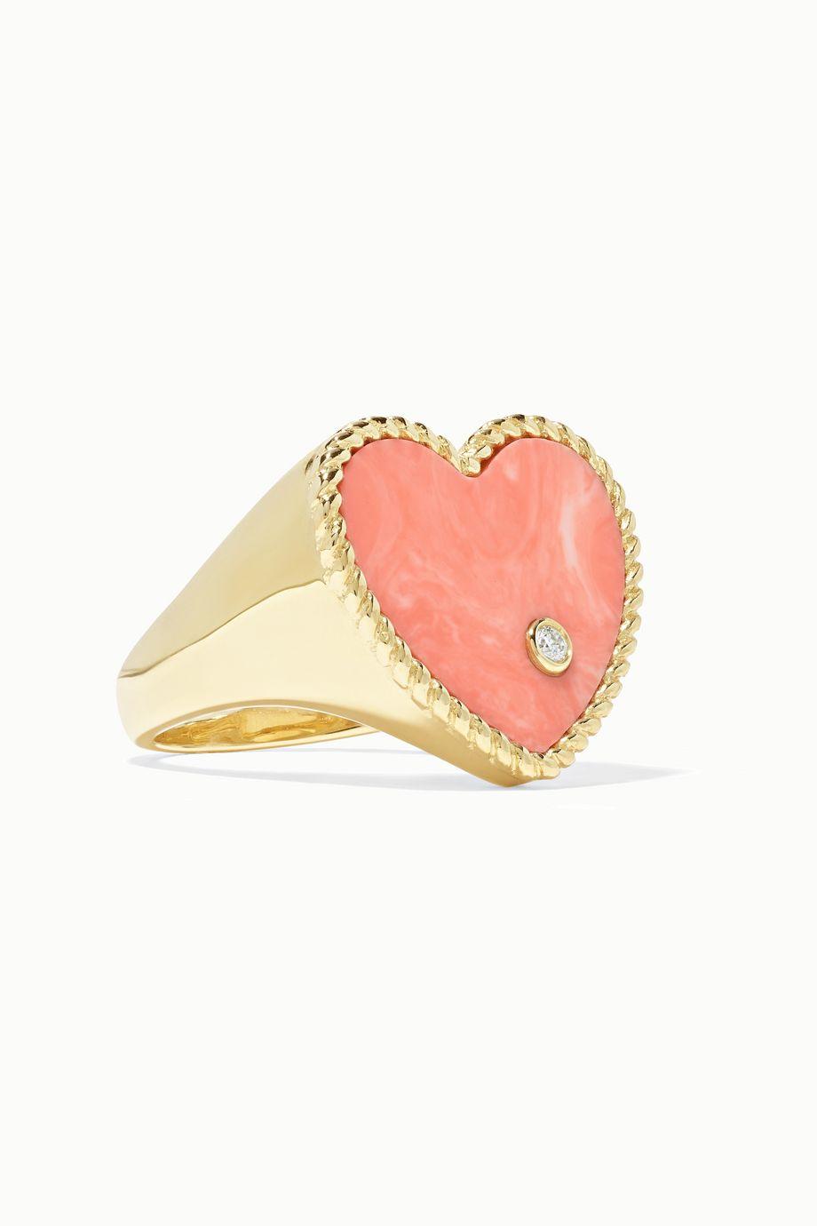 Yvonne Léon 9-karat gold, coral and diamond ring