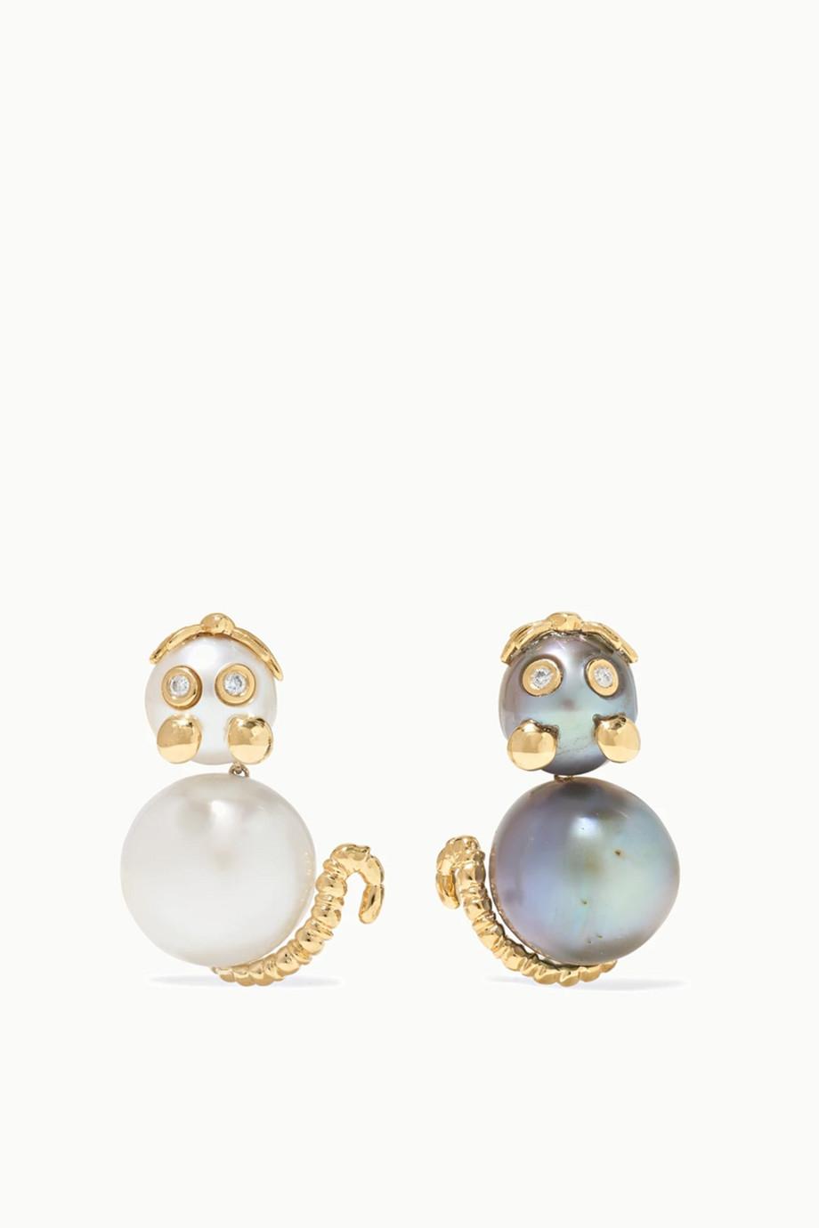Yvonne Léon Boucles d'oreilles en or 18 carats, perles et diamants