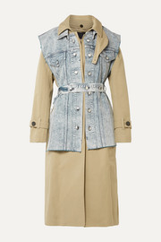 Convertible cotton-gabardine and denim trench coat