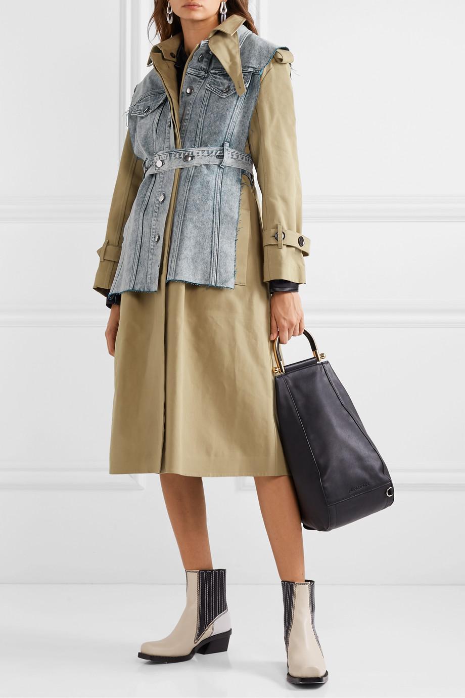 Proenza Schouler Convertible cotton-gabardine and denim trench coat