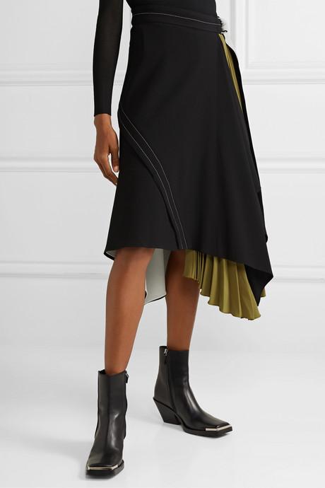 Draped pleated wrap-effect crepe midi skirt