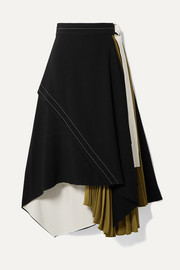 Draped pleated wrap-effect crepe midi skirt