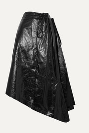 Asymmetric glossed-leather midi skirt