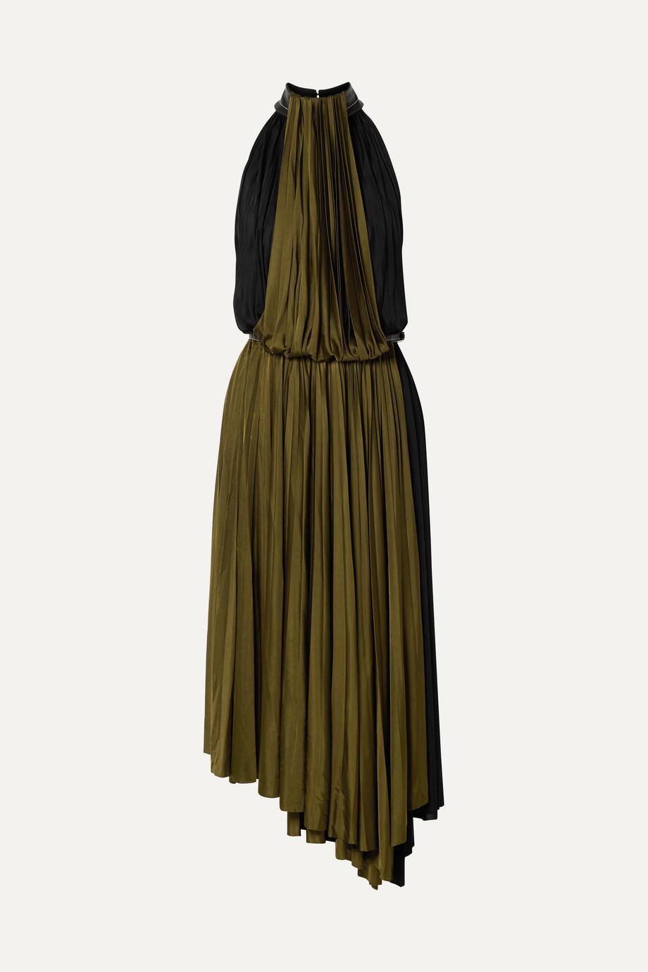 Proenza Schouler Zweifarbiges Wickelkleid aus plissiertem Jersey mit Kunstlederbesätzen
