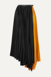 Asymmetric two-tone pleated jersey wrap skirt