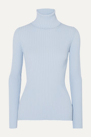Button-detailed ribbed-knit turtleneck sweater