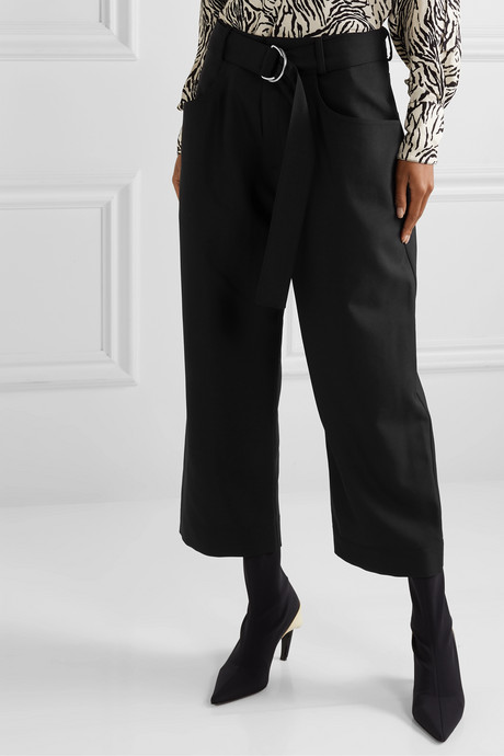 Belted wool-blend twill wide-leg pants
