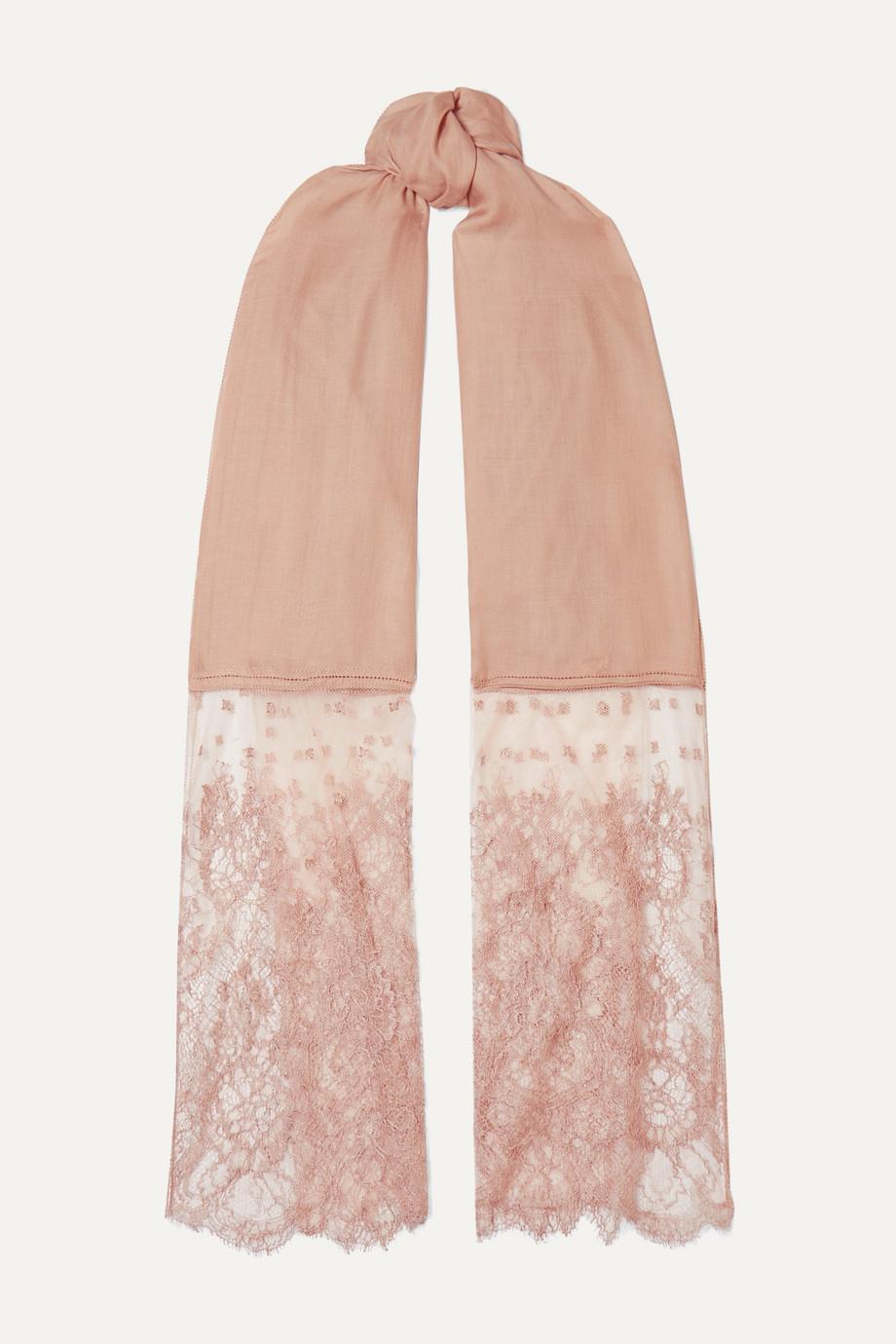 Valentino Valentino Garavani lace-paneled modal and cashmere-blend scarf