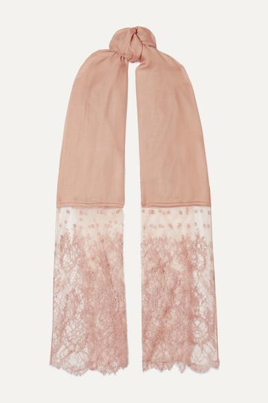 Valentino Garavani Lace Paneled Modal And Cashmere Blend Scarf by Valentino