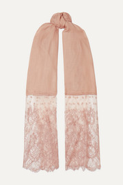 Lace-trimmed modal and cashmere-blend scarf